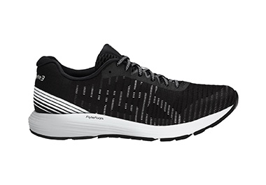 Men's black and white running shoe.