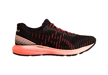 Women's black and pink running shoe.