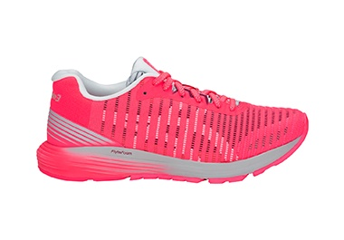 Women's hot pink running shoe.