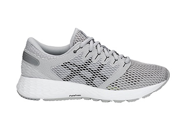 Women's white running shoe.