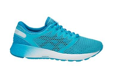 Women's blue running shoe.
