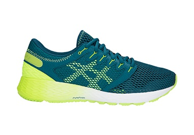 Men's green and yellow running shoe.