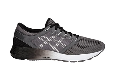 Men's gray and white running shoe.