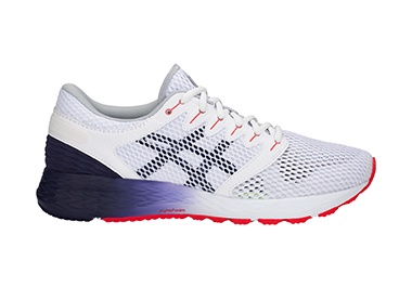 Men's white and blue running shoe.