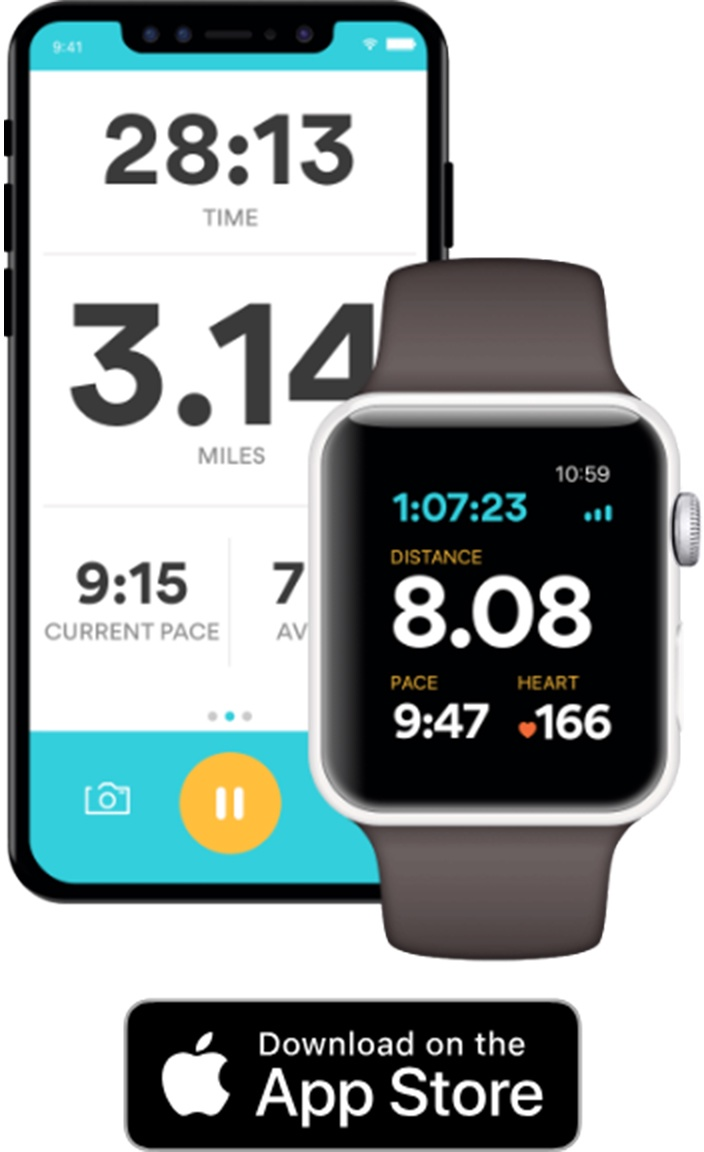 An iPhone and Apple Watch displaying the Runkeeper app.