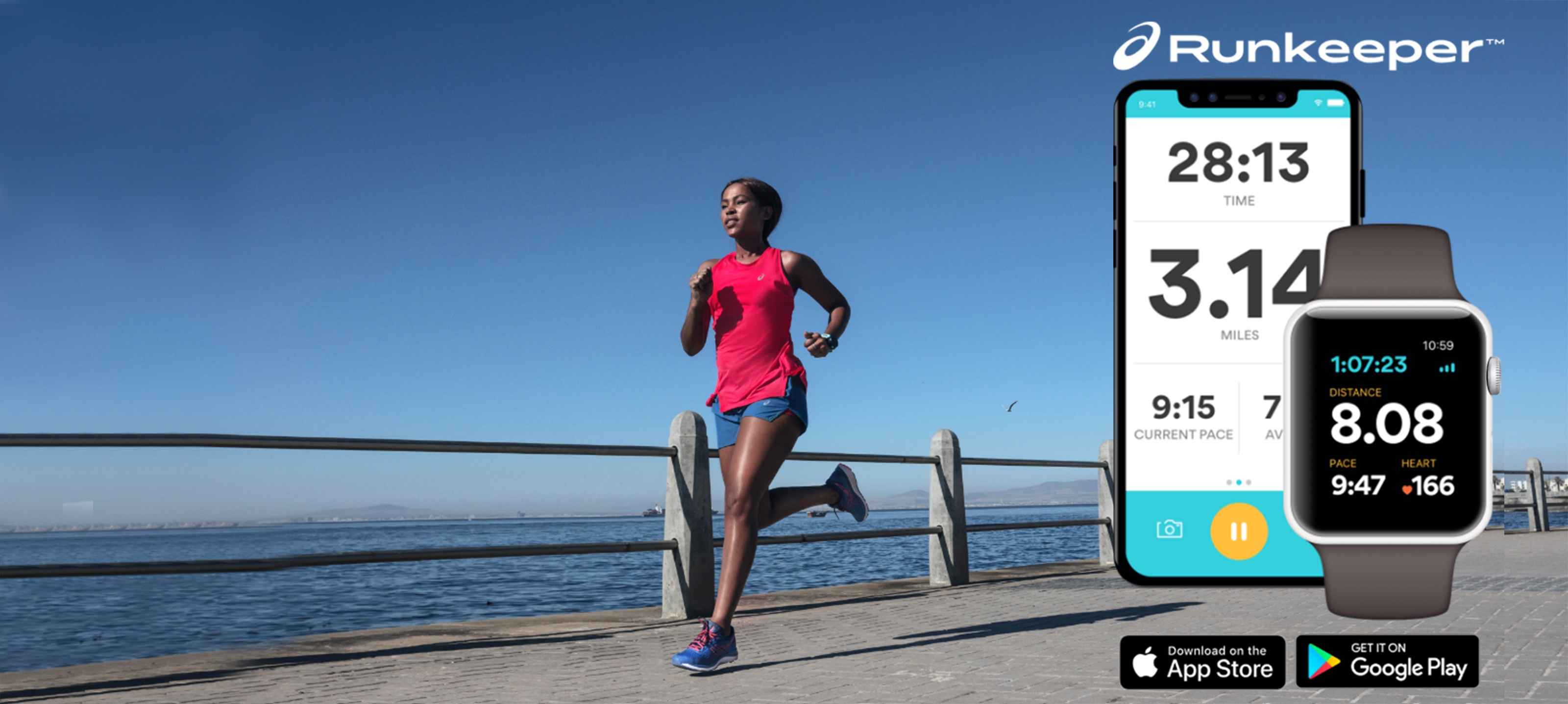 A woman in athletic clothes runs alongside a waterfront, alongside images of a smartphone screen and smartwatch.