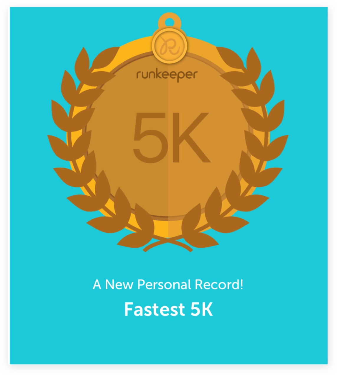 "A screenshot from the Runkeeper app of a graphic of a gold 5k medal that reads, ""A New Personal Record! Faster 5k."""