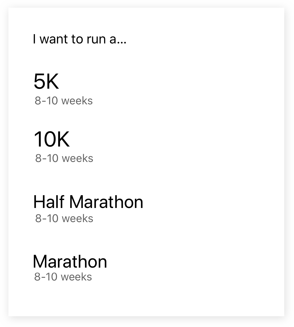 Screenshot from the Runkeeper app of training plan choices for 5k, 10k, Half Marathon and Marathon.