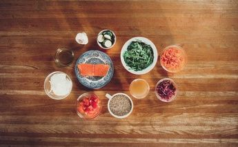 nutrition shot from Beat the Sun; food over head shot on wood