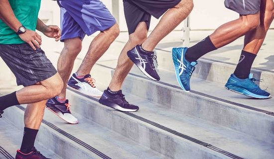men running up stairs in various fuze-x shoes