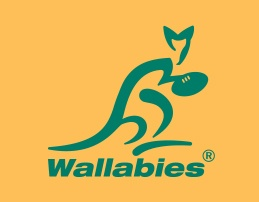 Wallabies logo on a yellow background