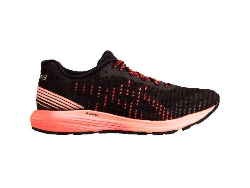 ASICS Womens Dynaflyte 3 shoe black and coral colour