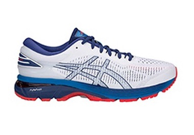 Men's white running shoe with red and blue accents.