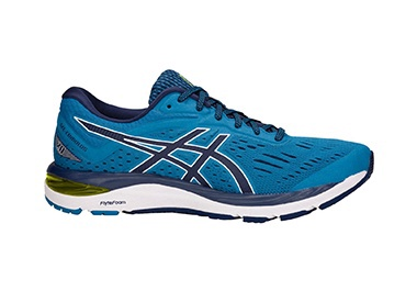 Men's blue running shoe.