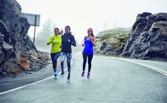 3 women running in mountains