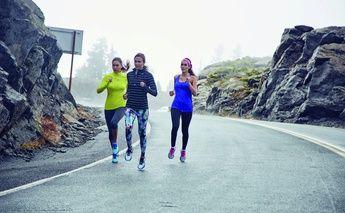 3 women running in mountains